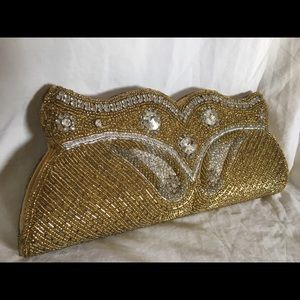 Vintage Glamour Bead Sequin Sewn Clutch
